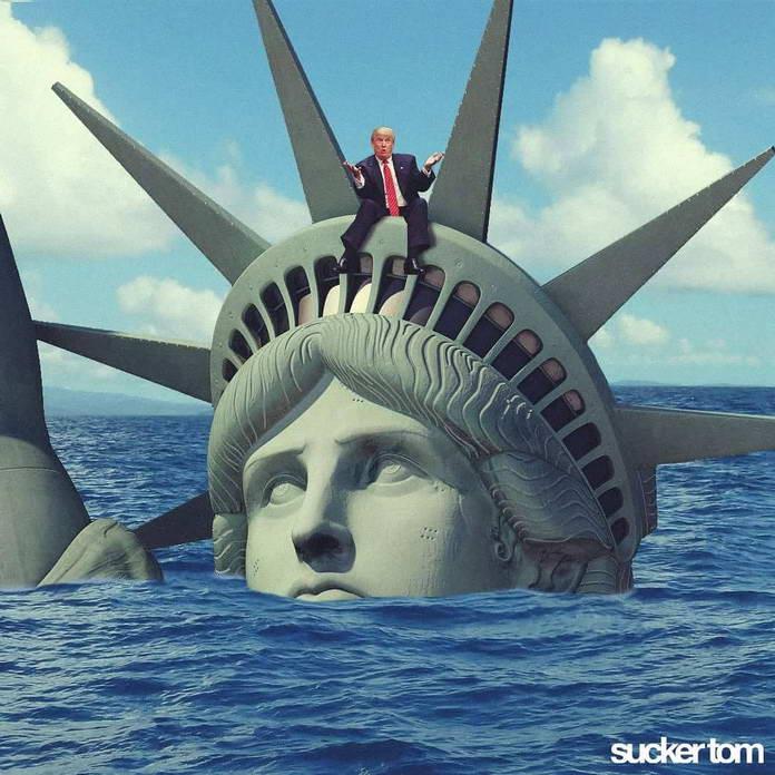 Дональд Трамп на статуе Свободы. Иллюстрации Sucker Tom
