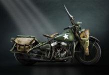 Ретро мотоцикл Harley Davidson Wla 1942 года цвета хаки