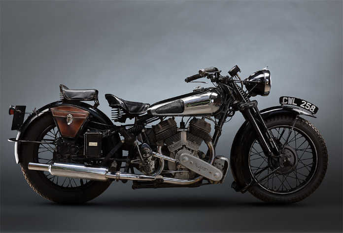 Ретро мотоцикл Brough superior ss80 800cc 1936 года