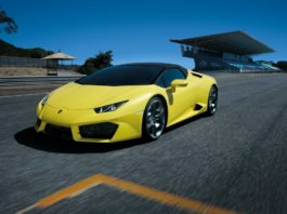 Yellow Lamborghini Huracán RWD Spyder on a racetrack