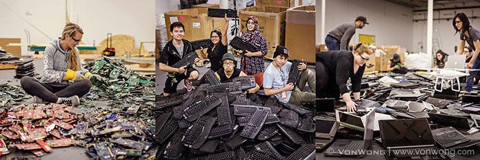 Вон Вонг превращает электронные отходы в постапокалиптический бэкграунд для своих работ