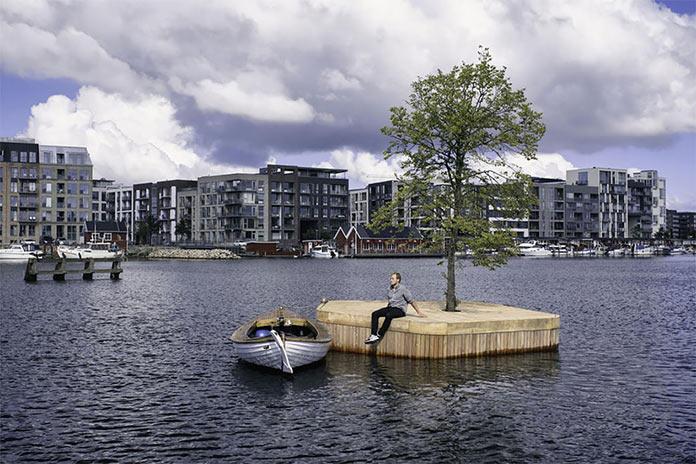 Плавучий искусственный остров в порту Копенгагена