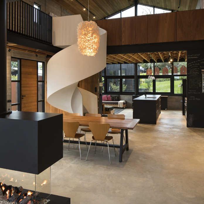 Опен спейс в интерьере дома в Новой Зеландии