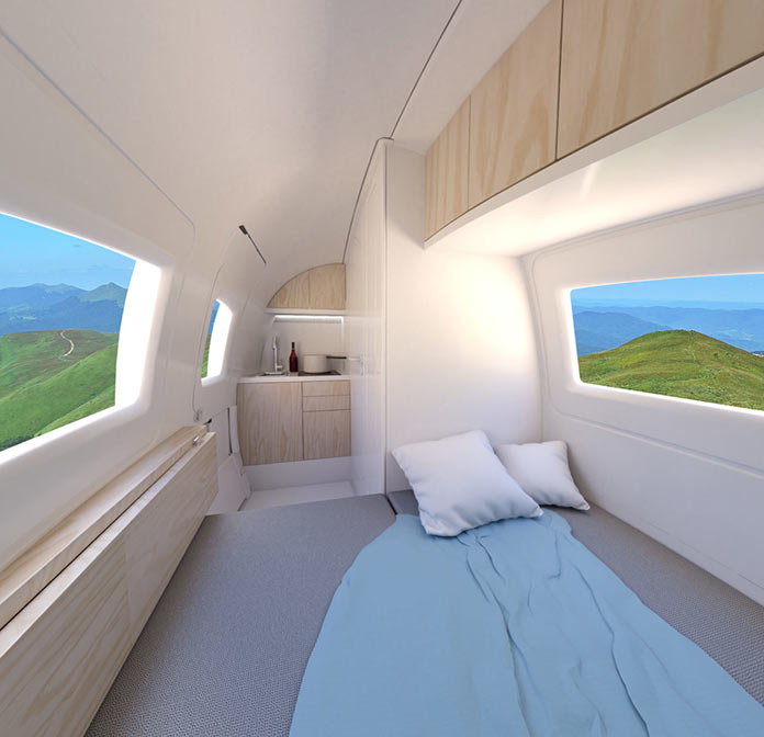 Мини-дом Экокапсула, интерьер, разложенная кровать