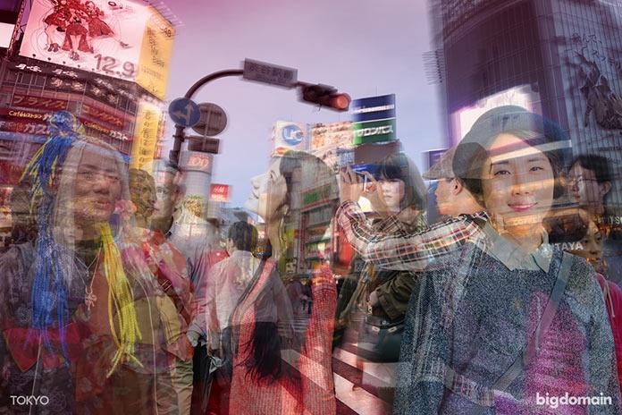 Динамика жизни Токио, многослойное динамичное фото
