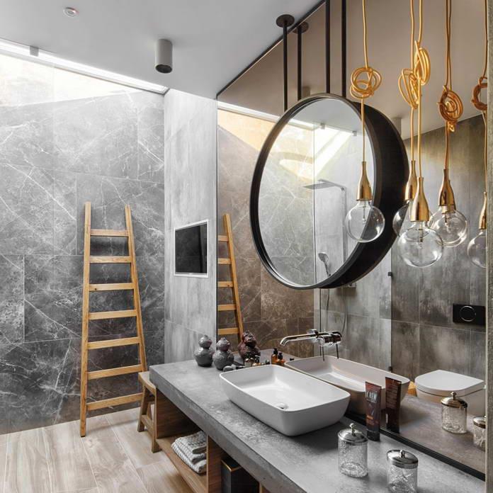 Ванная комната в стиле лофт, дом Будды в Киеве