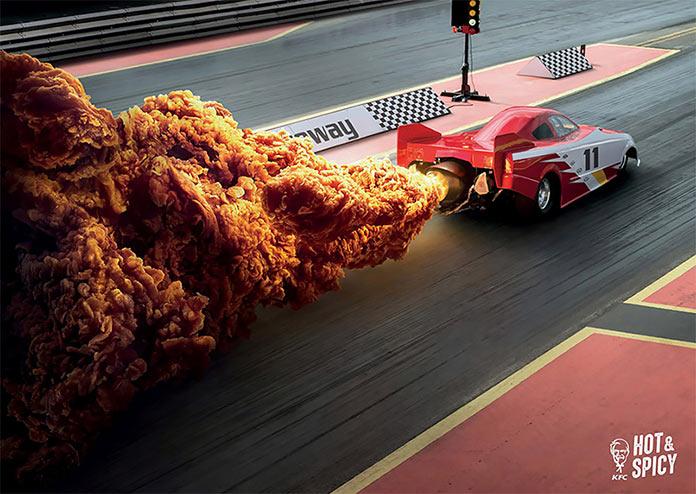 Принты для кампании KFC Hot and Spicy в Гонконге