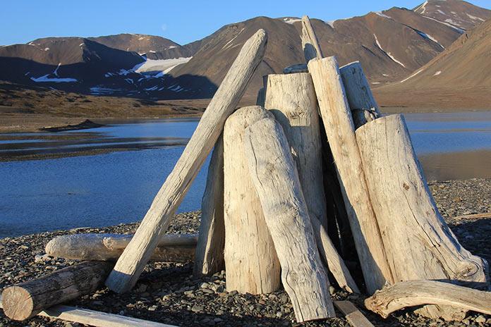 Шпицберген, кострище и арктический пейзаж