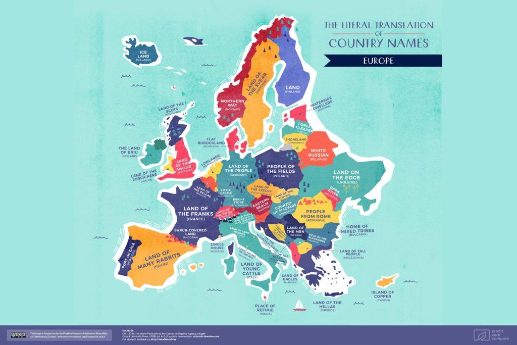 Буквальные названия стран. Европа, карта