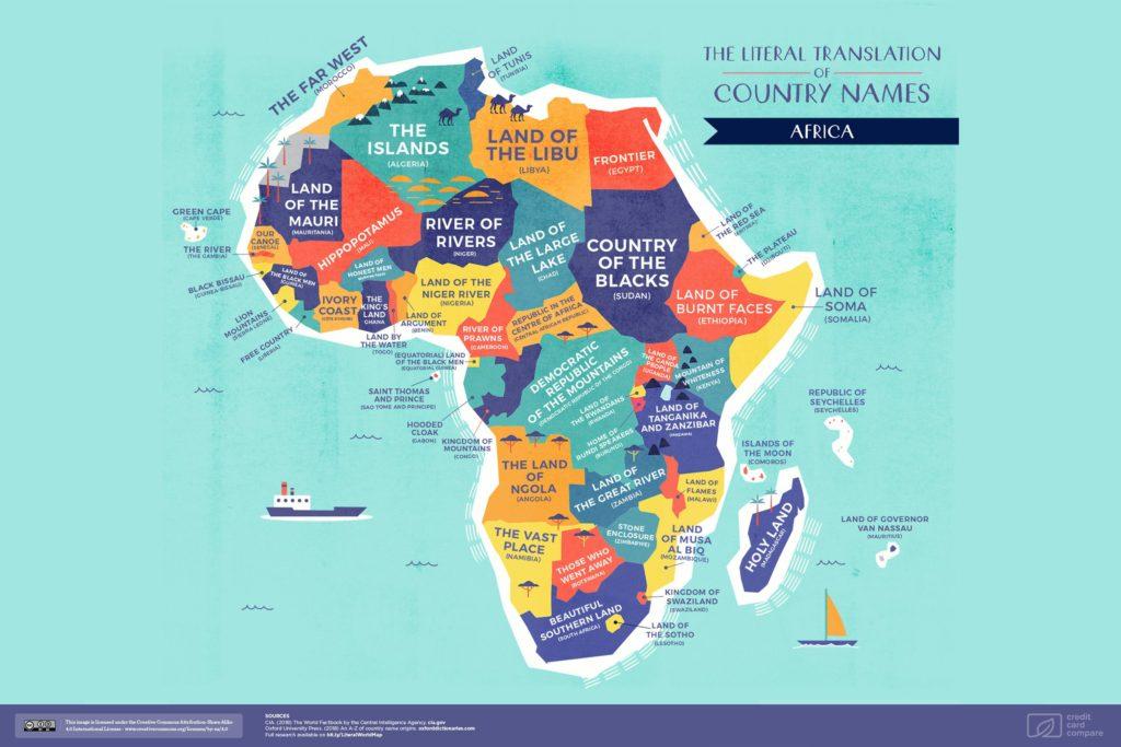 Буквальные названия стран. Африка, карта