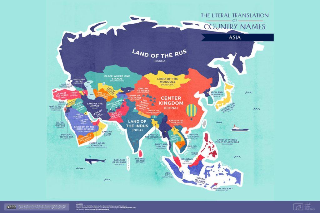 Буквальные названия стран. Азия, карта