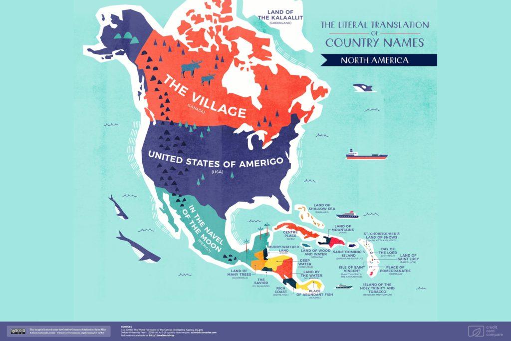 Буквальные названия стран. Северная Америка, карта