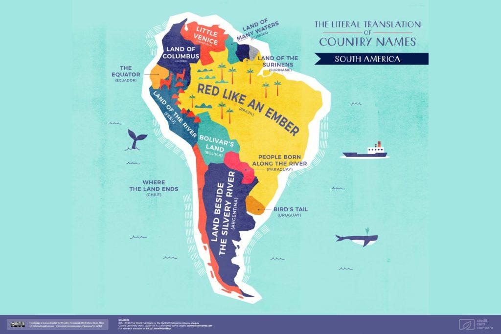 Буквальные названия стран. Южная Америка, карта