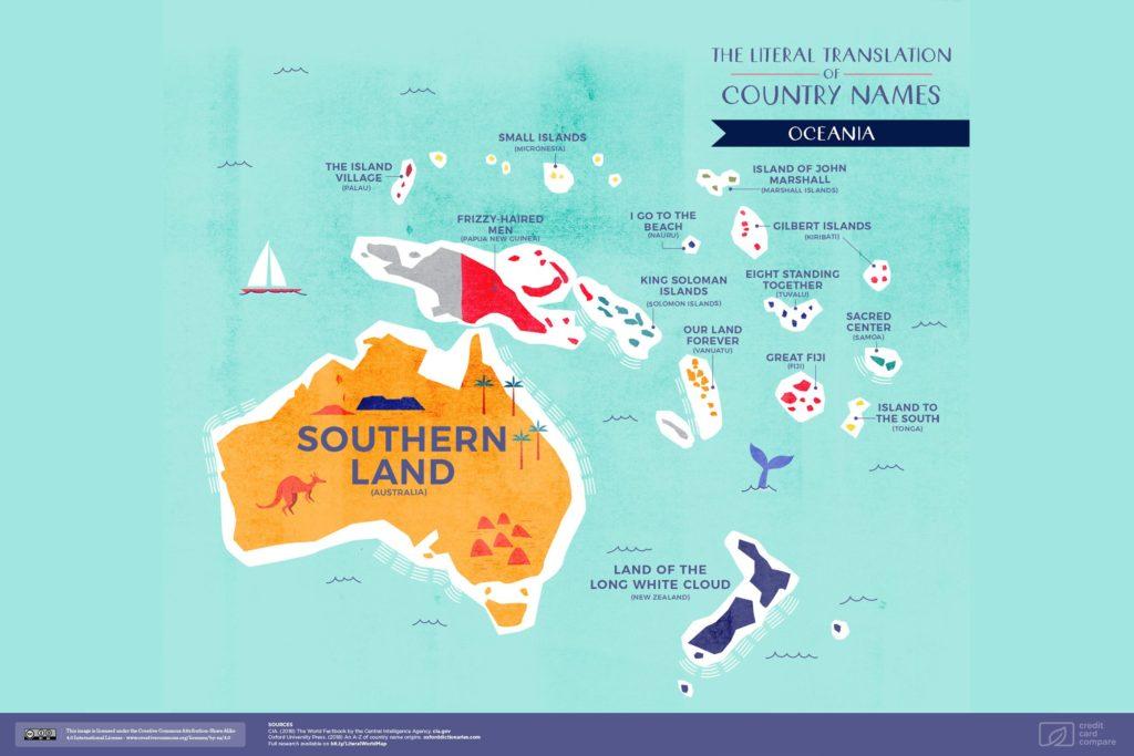 Буквальные названия стран. Океания, карта