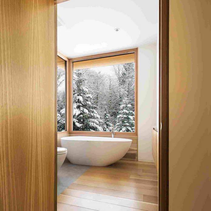 Ванная комната, стеклянный дом в Канаде