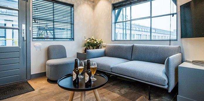 Гостиная. Апарт-отель на подъемном кране в Амстердаме