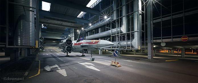Звездные войны истребители X-Wing на автостраде