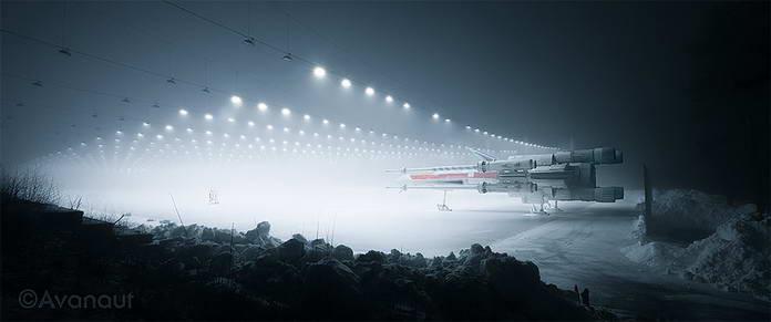 Звездные войны истребители X-Wing на автопарковке
