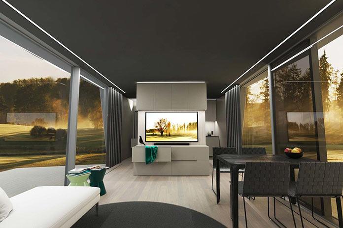 Гостиная с панорамными окнами. Мини-дом The Space от iOhouse