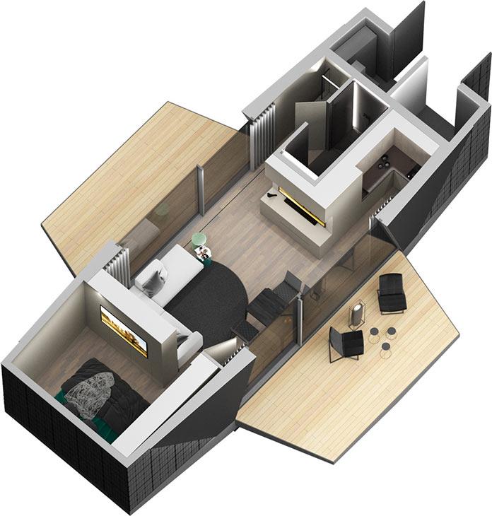 План мини-дома The Space от iOhouse