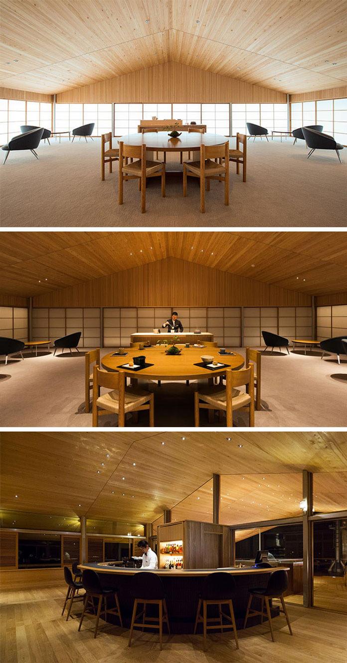 Бар и обеденные зоны Guntu, плавающем отеле в Японии