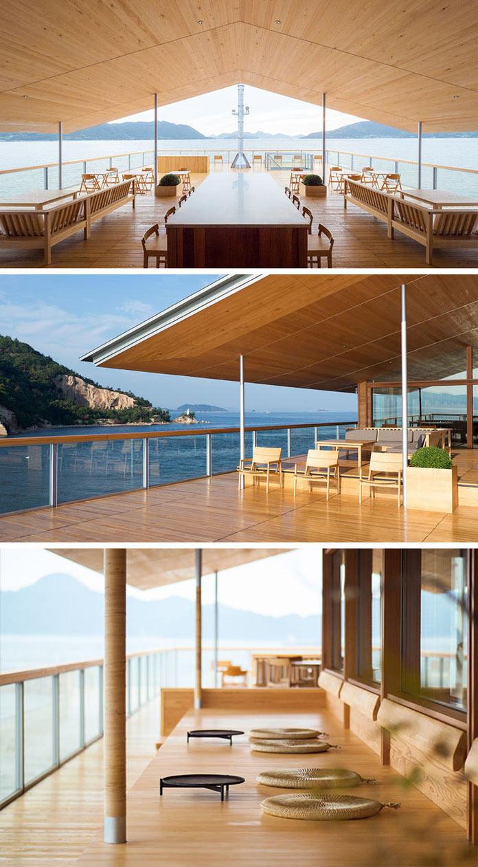 Лаундж зоны в Guntu - плавающем отеле в Японии