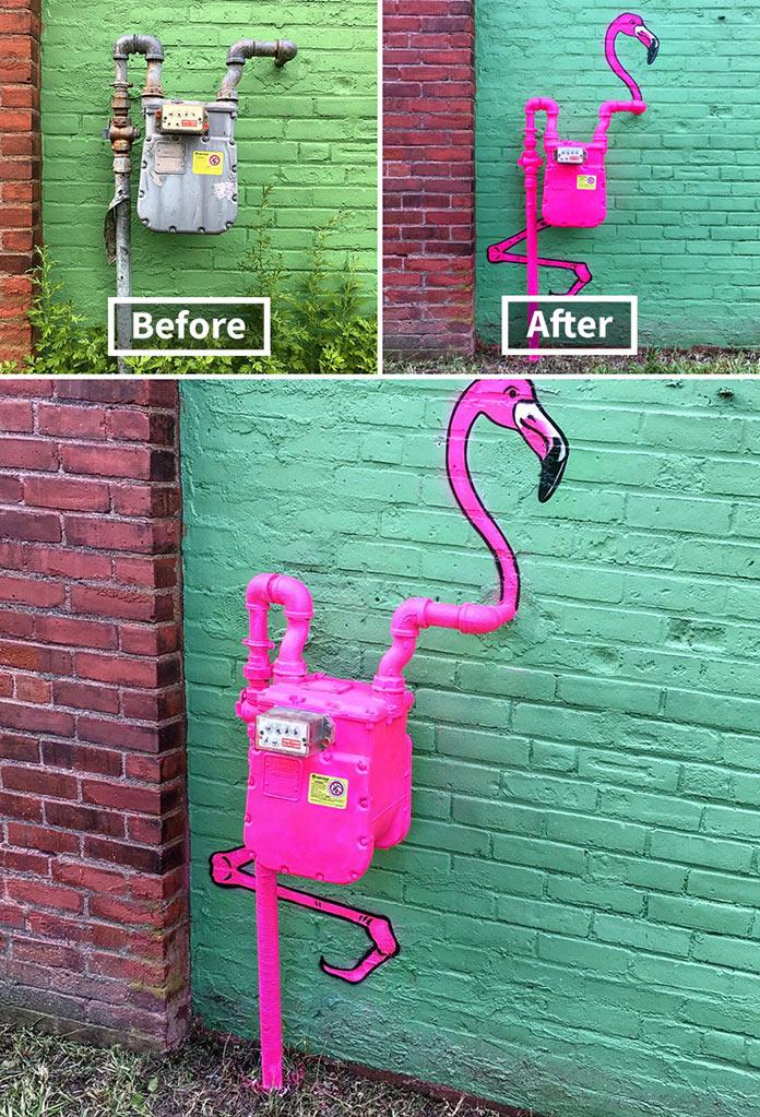 Розовый фламинго. Стрит-арт Тома Боба