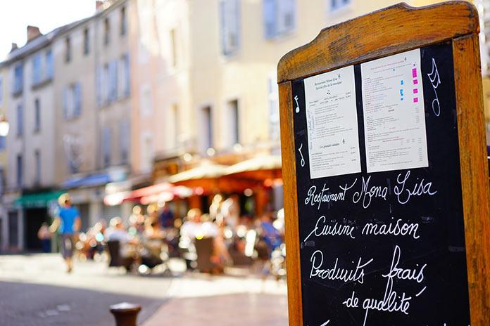 Уличное кафе, меню