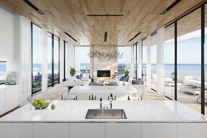 Кухня и гостиная. Особняк Dune Road, Бриджхэмптон, Лонг Айленд, Нью-Йорк