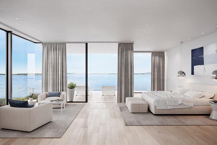 Спальня с панорамным видом. Особняк Dune Road, Бриджхэмптон, Лонг Айленд, Нью-Йорк