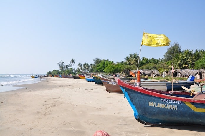 Гоа, Индия, пляж, лодки
