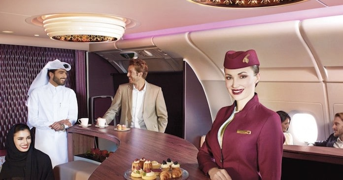 В салоне Qatar Airways Luxe