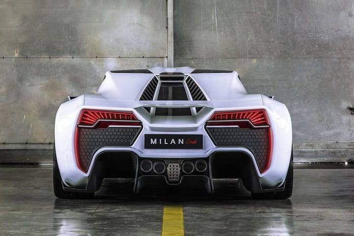 Milan Red Hypercar, вид сзади