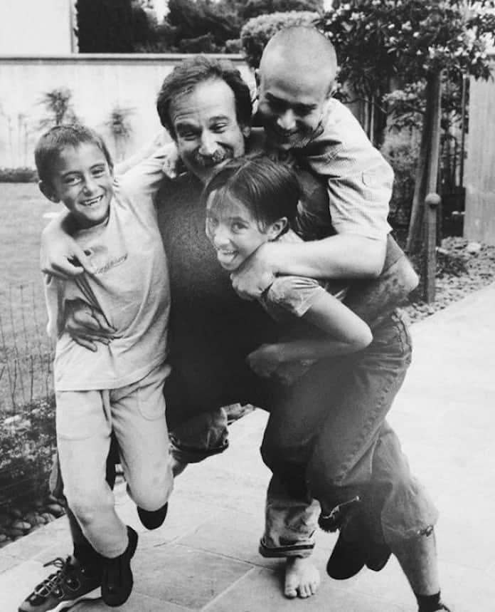 Робин Уильямс с детьми, молодые кинозвезды