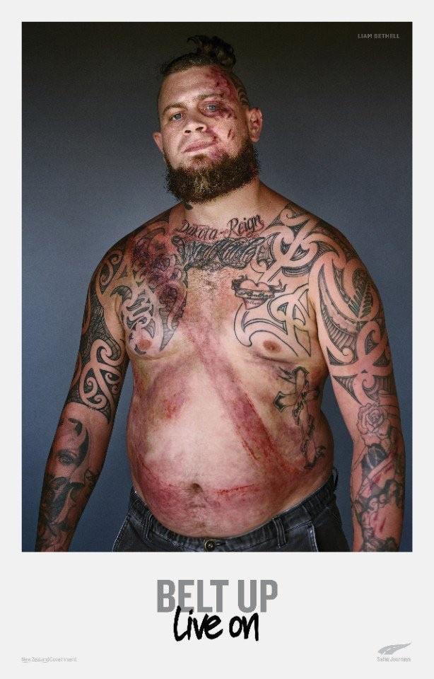 Лучше полоска на теле, чем на углу фотографии. Рекламный проект «Пристегни ремень», Новая Зеландия